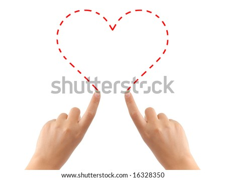 Hand drawing heart isolated on white background