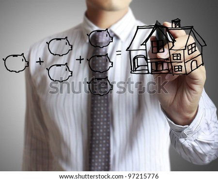 hand drawing house in a whiteboard - stock photo