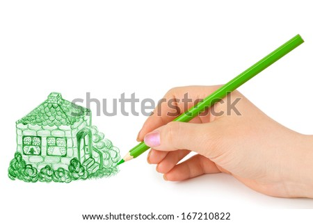 Hand drawing house isolated on white background - stock photo