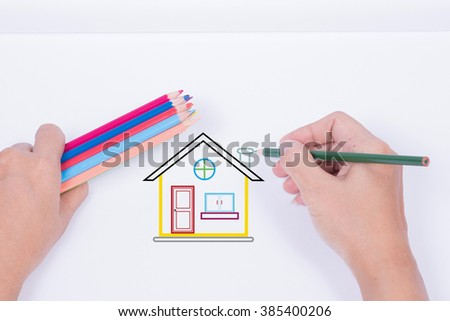 Hand drawing house on a white background.