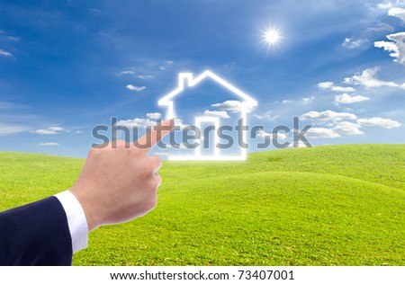 hand drawing house on blue sky