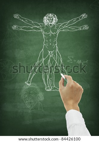 Hand drawing human anatomy on chalkboard - stock photo