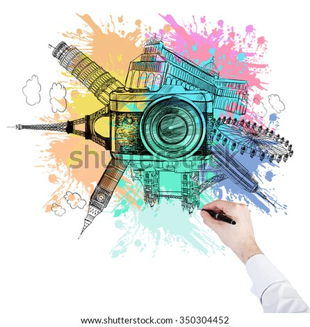 hand drawing illustration of landmarks of London, Paris, New York, Pisa: Big Ben, London Eye, Notre Dame, Empire State Building, Tower Bridge, Pisa Tower arranged in circle, photo camera at the front - stock photo