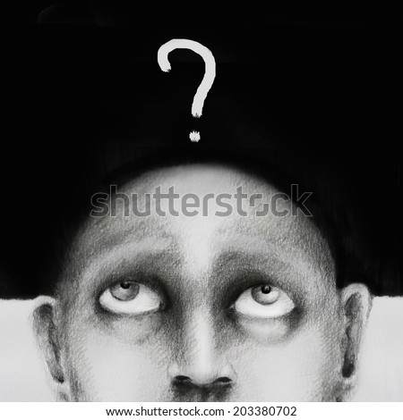 Hand drawing illustration which is conceptually a man who asks himself - stock photo