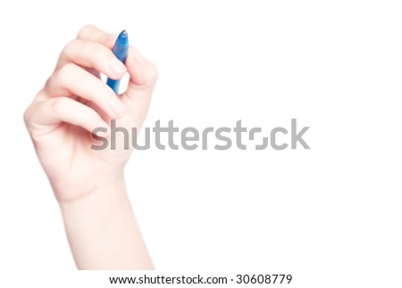 Hand drawing in whiteboard isolated on white - stock photo