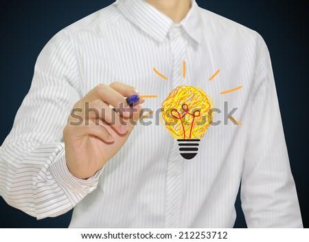"hand drawing light bulb concept ""good idea "" - stock photo"