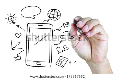 hand drawing mobile phone with social media concept  - stock photo