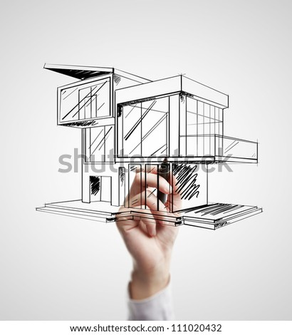 hand drawing modern cottage on a white background