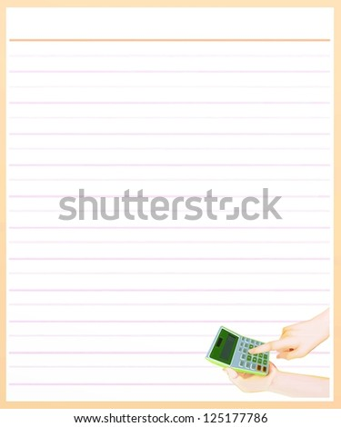 Hand Drawing of A Finger Pressing Key for Counting on Calculator in A Blank Brown Lined Paper Background with Copy Space for Text Decorated - stock photo