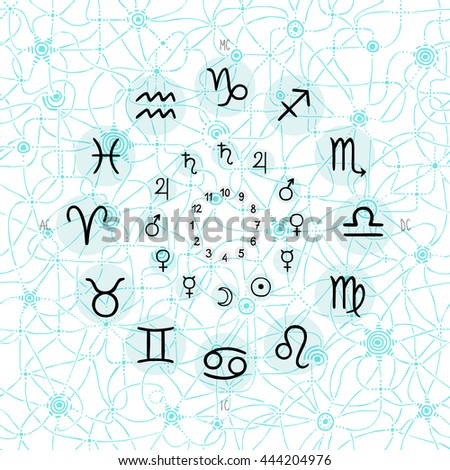 hand drawing of accurate horoscope illustration - zodiac wheel with ancient ruling planet symbols on light whimsical starry background - stock photo