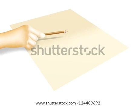 Hand Drawing of Person Holding A Pencil and Planning for Sketch, Write or Draw on A Blank Sheet of Paper