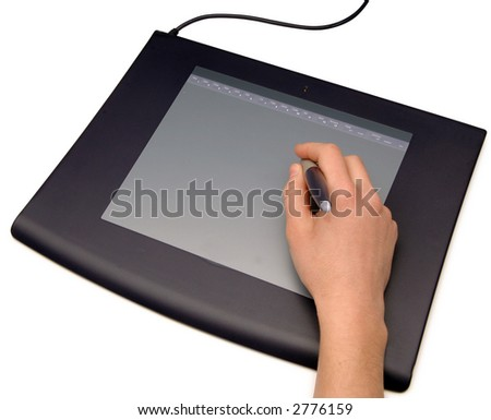 Hand drawing on a graphic tablet