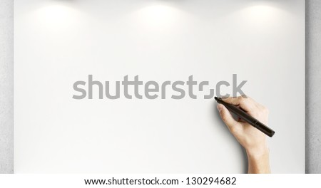 hand drawing on blank poster - stock photo