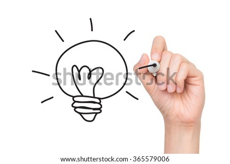 Hand drawing picture light bulb with concept of idea. Doodle hand drawn - stock photo