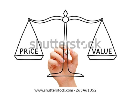 Hand drawing Price Value balance scale concept with black marker on transparent wipe board isolated on white.  - stock photo