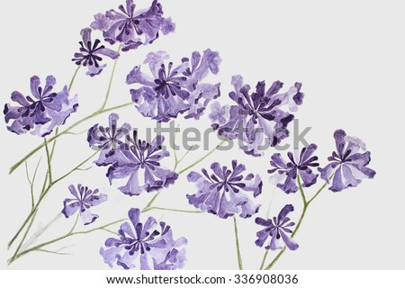 Hand Drawing Purple Flowers Backgrounds Watercolor Painting
