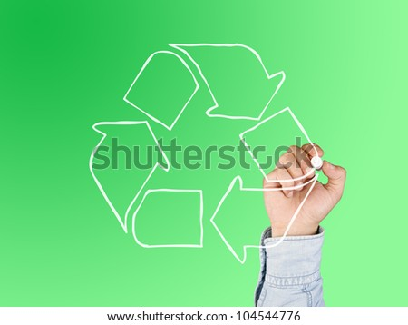 hand drawing recycle symbol - stock photo