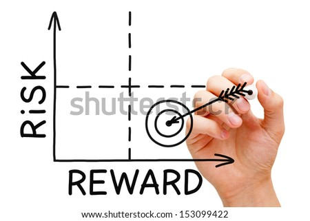 Hand drawing Risk Reward graph with black marker isolated on white. - stock photo