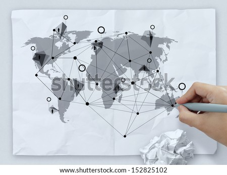 hand drawing social media icon on crumpled paper as concept - stock photo