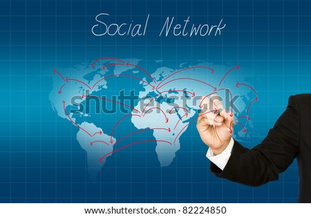 Hand drawing social network structure - stock photo