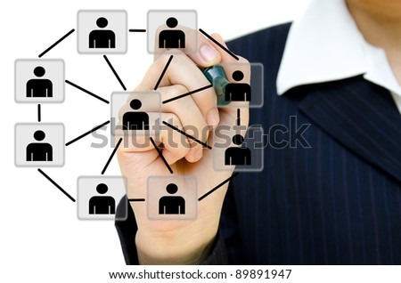 Hand drawing social network structure in a whiteboard. - stock photo