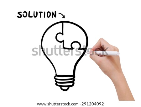 Hand drawing solution concept with black marker on transparent wipe board. - stock photo