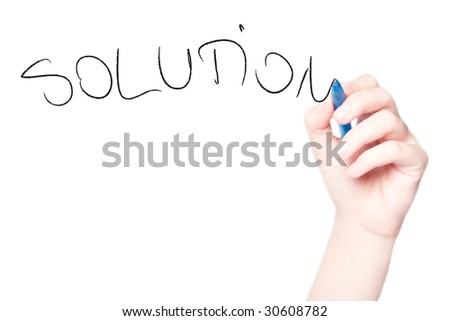 "Hand drawing ""Solution"" in whiteboard isolated on white - stock photo"