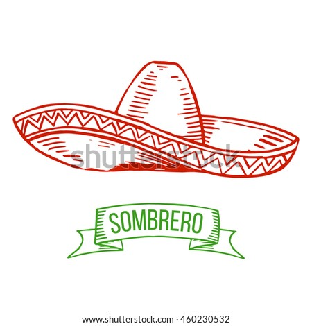 Hand drawing sombrero isolated on white background. Symbol of Mexican, national costume.