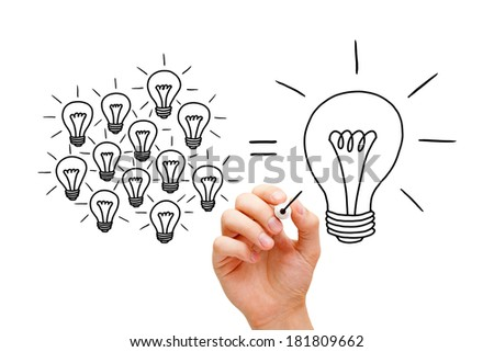 Hand drawing Teamwork light bulbs concept with black marker. Many small ideas equal a big one. - stock photo