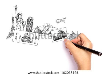 Hand drawing the travel around the world in a whiteboard - stock photo
