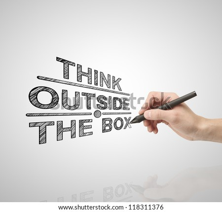 hand drawing  think outside the box - stock photo