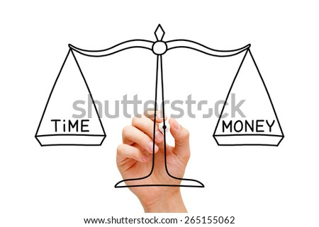 Hand drawing Time Money scale concept with black marker on transparent wipe board isolated on white. - stock photo