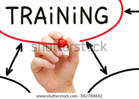 Hand drawing Training flow chart on transparent wipe board. - stock photo