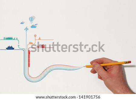 Hand drawing transportation types on paper - creative combined background - stock photo
