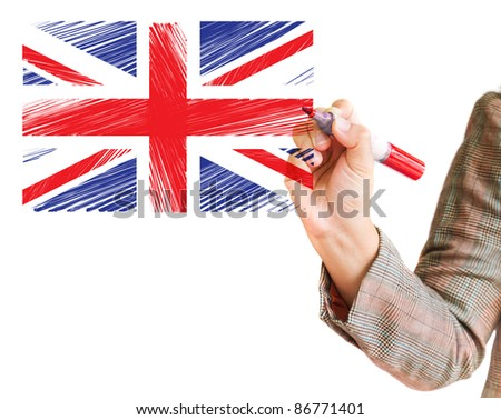 hand drawing United kingdom flag on a whiteboard - stock photo