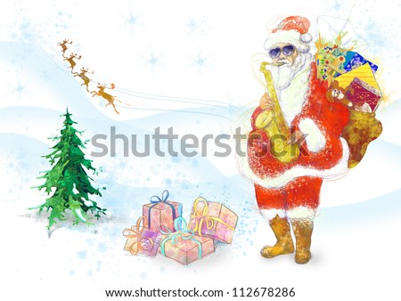 hand drawing using digital tablet (this is the original colored drawing / sketch) - - colored sketch bearded Santa Claus playing the saxophone (the reindeer in the background) - stock photo