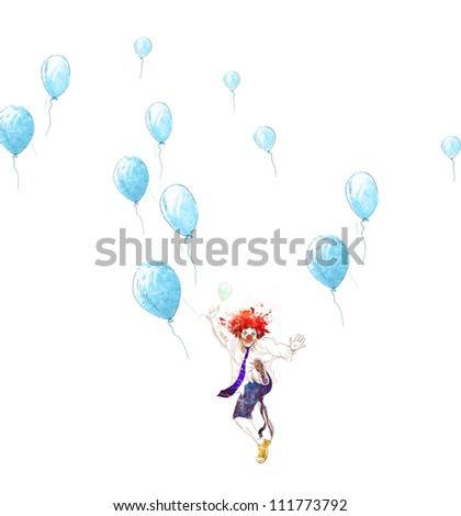 hand drawing using digital tablet (this is the original drawing isolated on white background) - happy clown - stock photo