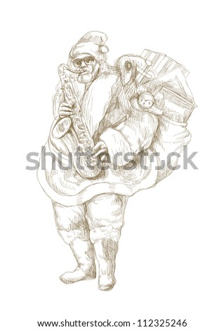 hand drawing using digital tablet (this is the original drawing / sketch) - - sketch bearded Santa Claus playing the saxophone - stock photo