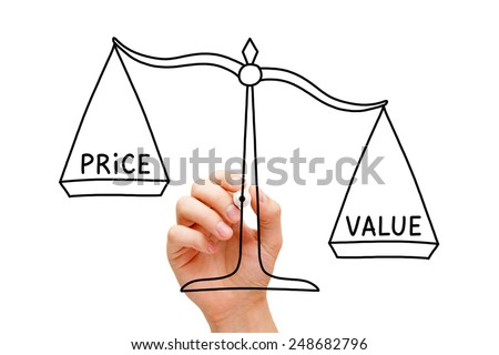 Hand drawing Value Price scale concept with black marker on transparent wipe board isolated on white. - stock photo