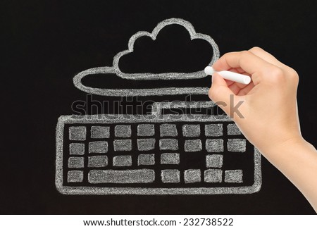 Hand drawing with chalk keyboard connected to cloud, cloud computing concept - stock photo