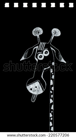 hand drawing with white ink on black paper of giraffe sticking out her tongue/giraffe/scan of handmade work - stock photo
