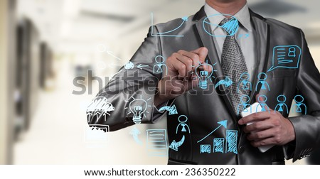 Hand drawing work flow  of business man, business concept - stock photo