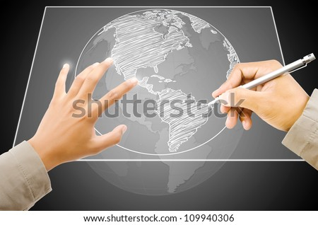 Hand Drawing World Map Globe line on the Touchscreen Interface.
