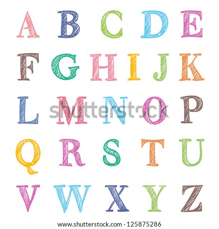 hand drawn abc letters on white - stock photo