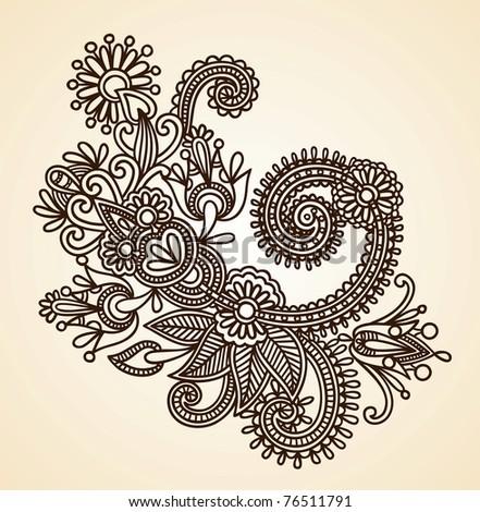 how to draw henna flowers