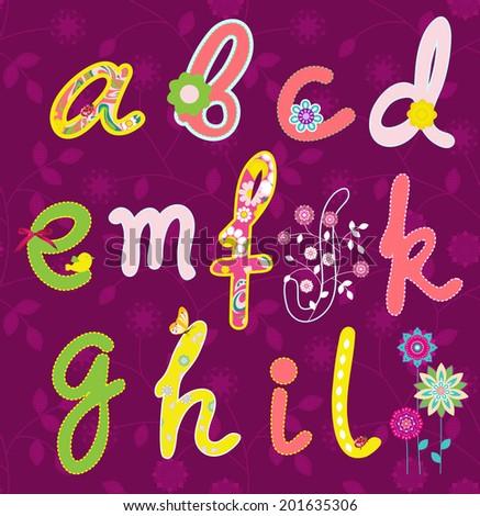 Hand drawn alphabet.  - stock photo