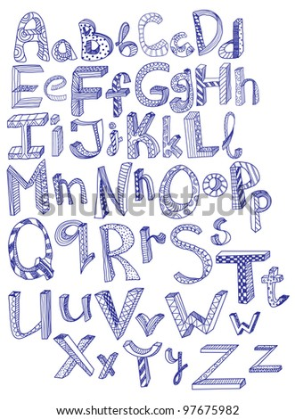 hand drawn alphabet, illustration - stock photo