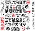 hand drawn alphabet isolated on white background - stock vector