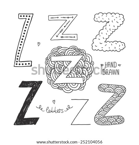 Hand drawn alphabet, letter z. Doodle letters set isolated on white background - stock photo