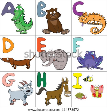 Hand-drawn alphabet with cartoon animals from A to I. Raster version. - stock photo